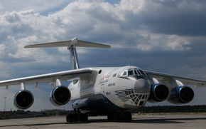 Wallpaper The Il-76, Photo, Military Transport, The plane, The sky, Aviation, Clouds