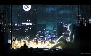 Wallpaper hatsune miku, Vocaloid, headphones, flower, rain, night, blue hair, sill, vocaloid