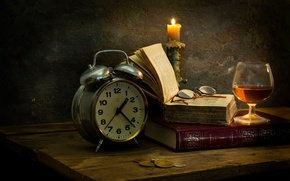 Picture watch, glass, books, candle, glasses, wax, Tranquil enjoyment