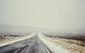 Picture road, field, snow, landscape