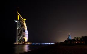 Wallpaper light, night, Dubai, Dubai, UAE, Jumeirah beach hotel, Burj Al Arab