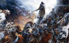 Picture weapons, castle, armor, monsters, wolves, battle, swords, warriors, game wallpapers, Confrontation