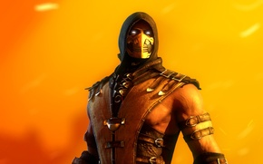 Wallpaper fighter, scorpion, ninja, hell, mortal kombat x