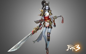 Picture girl, weapons, the game, warrior, art, KF3