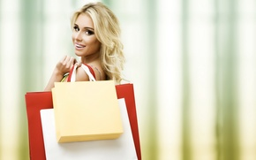 Wallpaper look, shopping, purchase, a good, smile, mood, girl, joy, packages