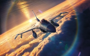 Wallpaper sky, sunset, drawing, Lockheed F-16