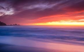 Picture beach, the ocean, dawn, coast, USA, Pacifica, Rockaway Beach