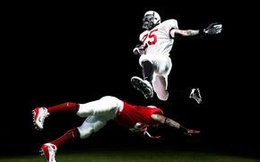 Picture flight, jump, football, sport, American, athletes