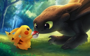 Picture mood, meeting, art, friendship, pokemon, toothless, children's, the night fury
