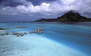 Wallpaper sea, clouds, mountains, Polynesia, Bora Bora, houses
