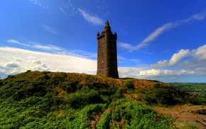 Picture the sky, clouds, field, tower, hill, Ireland, Scrabo Tower