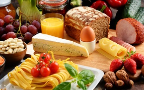 Picture egg, cheese, strawberry, juice, honey, bread, grapes, juice, pepper, nuts, tomatoes, nuts, grapes, eggs, bread, ...