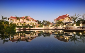 Picture palm trees, Villa, pool, Laos, Luang Say Residence