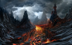 Picture clouds, rocks, the volcano, art, lava, gloomy