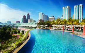 Picture the sky, clouds, palm trees, building, The city, pool, Kuala Lumpur, kuala-lumpur