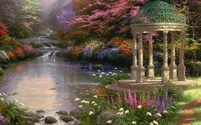 Wallpaper flowers, picture, rotunda, Park, stream, cascade
