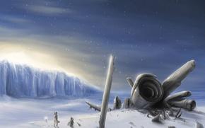 Picture winter, snow, figure, ship, The crash