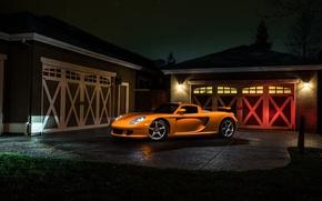 Picture Porsche, Orange, Front, Carrera, Supercar, Exotic, Borealis, Ligth, Nigth, Arancio
