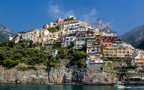 Picture the sky, clouds, mountain, home, slope, Italy, Positano, Salerno