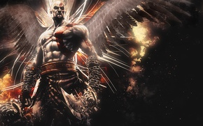 Picture abstract, Kratos, God of War, wings, background, video game, Ascension, blades, God of War: Ascension, ...