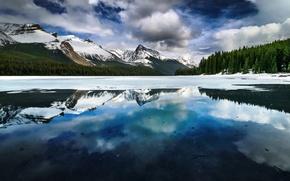 Picture winter, snow, mountains, nature, lake, Alberta, Canada, Maligne Lake near Jasper