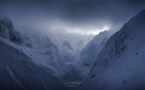 Picture clouds, snow, mountains, fog, rocks, France