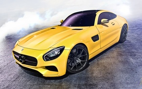 Picture car, yellow, mercedes, amg