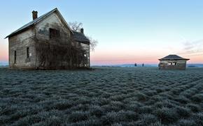 Picture field, landscape, house, color
