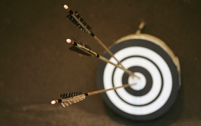 Picture blur, three, arrows, center, target, Apple, bokeh.