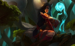 Wallpaper forest, girl, magic, spirit, warrior, art, ears, the corpse, lol, League of Legends, tails, Ahri, ...