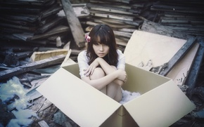 Picture girl, box, Asian