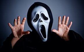Picture black and white, fear, hands, Scream, mask