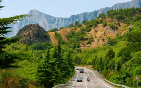 Picture road, forest, trees, mountains, transport, highway, Crimea