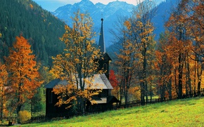Picture autumn, grass, trees, mountains, house, slope, Church