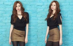 Picture look, girl, skirt, actress, beauty, blouse, tights, red, redhead, brick wall, Karen Gillan, Karen Gillan