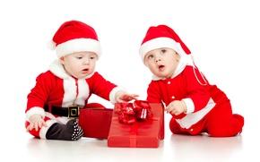 Picture children, child, Christmas, New year, christmas, new year, child, children, gift boxes, gift box, Santa …