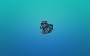 Wallpaper minimalism, animal, bluish background, striped, gesture, raccoon, anime, tail, peace, raccoon