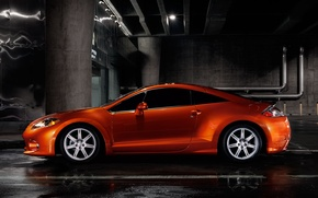 Wallpaper Orange, Asphalt, Mitsubishi