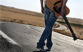 Picture road, music, people, guitar