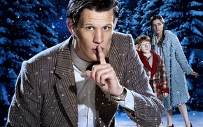 Picture winter, the sky, look, snow, children, tree, Christmas, boy, girl, actor, male, christmas, jacket, Doctor …