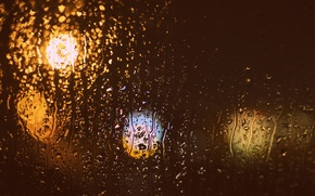 Picture glass, drops, bokeh