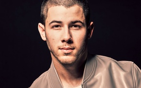 Picture portrait, jacket, photographer, actor, black background, singer, 2016, Nick Jonas, Much Music Video Awards, Nick ...