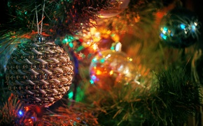 Picture tree, new year, holiday, nastroenie, light bulb, Christmas decorations