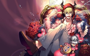 Picture smile, background, anime, art, guy, One Piece