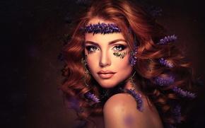Picture girl, portrait, flowers, PURPLE