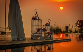 Picture the sun, sunset, wedding, bouquets