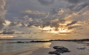 Picture sand, sea, clouds, shore
