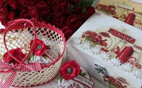 Wallpaper flowers, the sweetness, cake, roses, flower, box