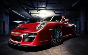 Wallpaper red, red, Parking, front, Porsche, 911, Porsche, Turbo