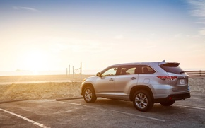 Picture landscape, coast, Toyota, crossover, suv, Highlander, highlander